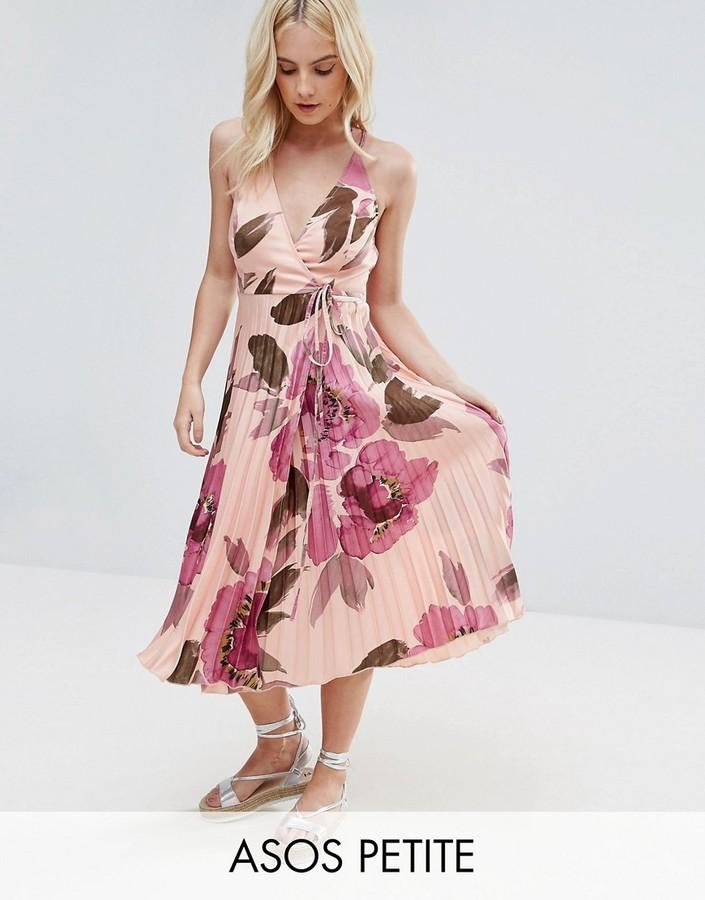 AsosASOS Petite ASOS PETITE Floral Pleated Wrap Cami Midi Dress