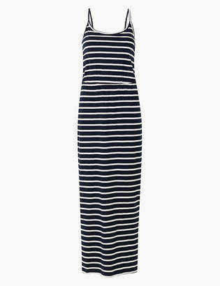 Marks and Spencer Pure Cotton Striped Waisted Maxi Dress