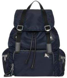 Burberry Men's Nylon& Leather Military Backpack - Ink Blue