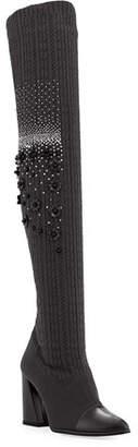 Stuart Weitzman Longlegs Over-The-Knee Embellished Sock Boot