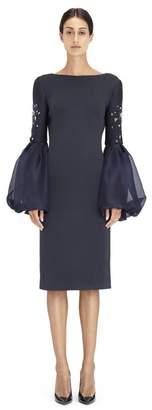 Lanvin Embroidered Silk Neoprene Dress