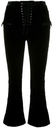 Unravel Project velvet cropped lace-up trousers