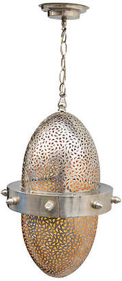 One Kings Lane Vintage Silver Engraved Moroccan Ceiling Lantern - The Moroccan Room