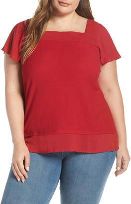 Vince Camuto Square Neck Layered Top