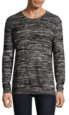 John Varvatos Long Sleeve Marled Crewneck Sweater