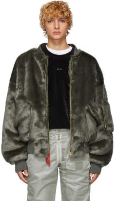 Landlord Grey Faux-Fur Bomber Jacket