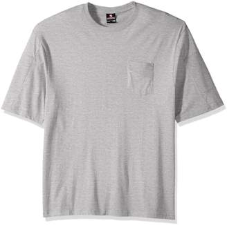 Southpole Men's Big and Tall Short Sleeve Tee with Moto Biker Details on Sleeves, Heather Grey
