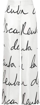 Oscar de la Renta Printed Silk-twill Wide-leg Pants - White
