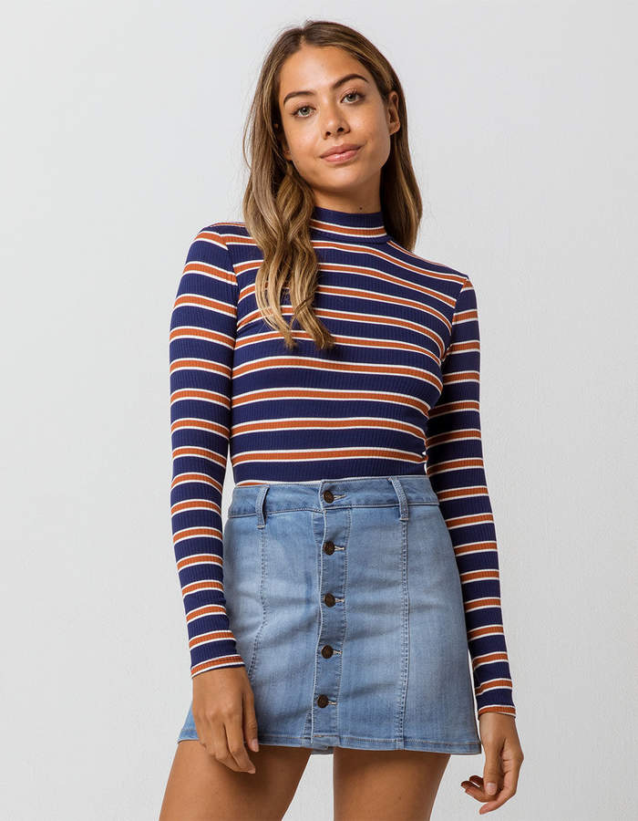 Sky And Sparrow Stripe Mock Neck Navy Womens Tee
