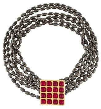 Saint Laurent Glass Square Collar Necklace