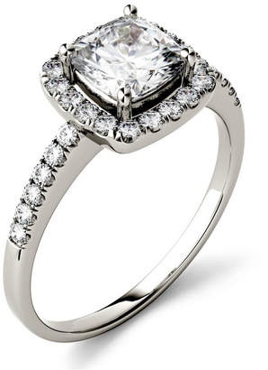Charles & Colvard Moissanite Cushion Halo Ring (1-3/8 ct. tw.) in 14k White Gold