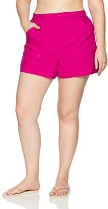 Maxine Of Hollywood Women's Plus Size Solid Boardshort Swim Shorts Bottom