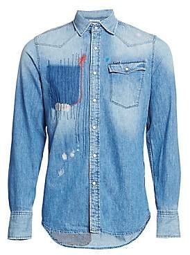 G Star Men's Slim-Fit Patchwork Denim Shirt
