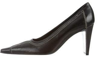 Celine Leather Semi Pointed-Toe Pumps