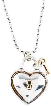 Tiffany & Co. Two-Tone Heart Lock Pendant Necklace