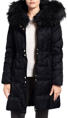 Women's Via Spiga Water Repellent Quilted Puffer Coat With Faux Fur Trim $228 thestylecure.com