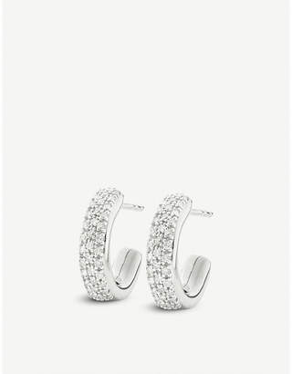 Monica Vinader Fiji mini hoop silver and diamond earrings