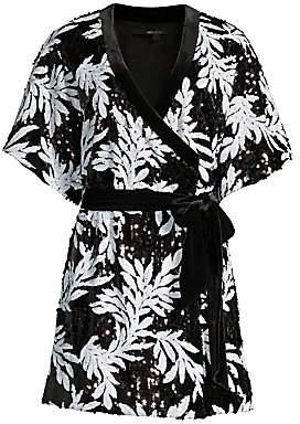 Jay Godfrey Women's Lanai Sequin Palm-Print Wrap Dress