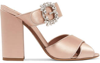 Tabitha Simmons Reyner Embellished Satin Sandals - Blush