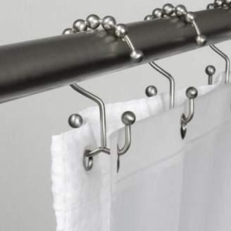 BRANDED Mallroom2PCS Metal Double Glide Bathroom Shower Curtain Hook Ring Roller Balls