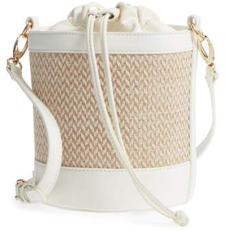 Leith Straw & Faux Leather Bucket Bag
