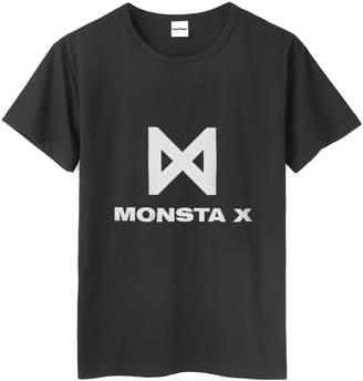 Fanstown Kpop Monsta X Tshirt Member Name and Birth Year Black Tshirt with pin Button Badge (Minhyuk)
