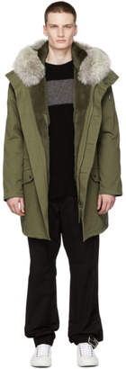 Yves Salomon Green Cotton Parka