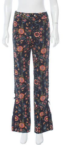 Christian Dior Lace-Up Floral Pants