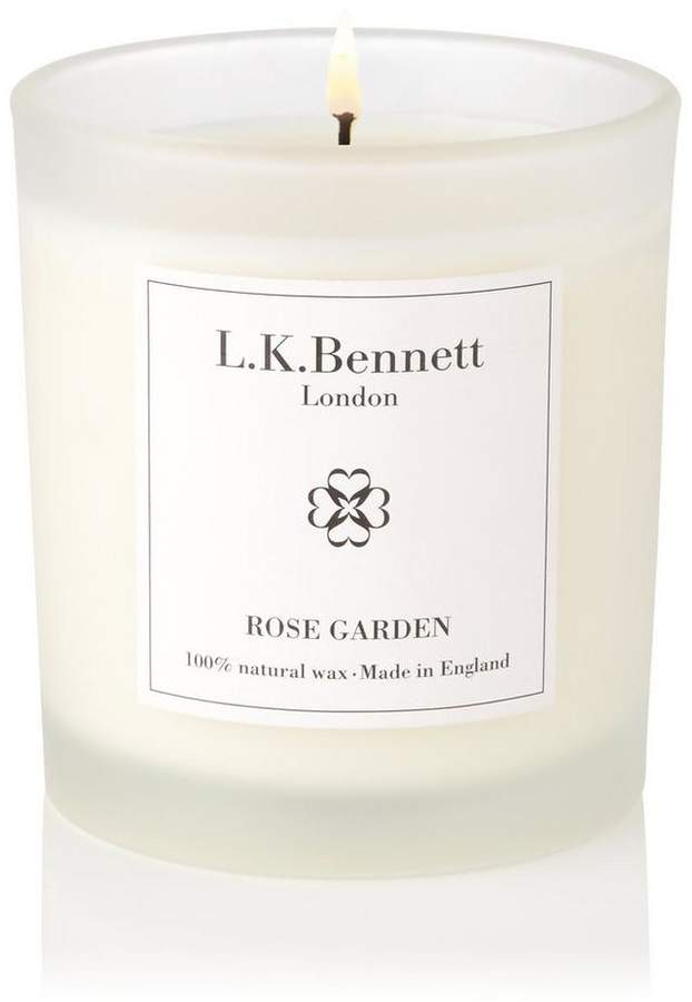 Rose Garden White Glass Candle