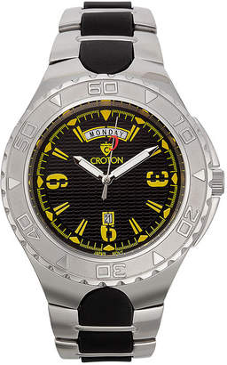 Croton Mens Black and Yellow Two-Tone Stainless Steel Watch