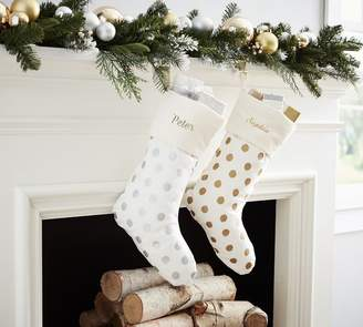 Pottery Barn Metallic Dot Stockings
