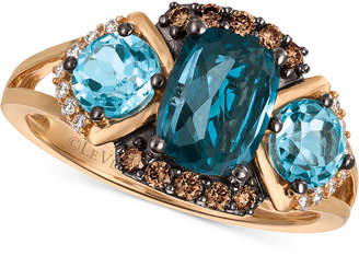 LeVian Le Vian Chocolatier Blue Topaz (2-5/8 ct. t.w.) and Diamond (1/5 ct. t.w.) Ring in 14k Rose Gold