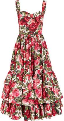 Ruffled Floral-print Cotton-poplin Dress - Pink