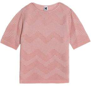 M Missoni Woman Metallic Broderie Anglais And Crochet Knit-paneled Top Pink Size 40 M Missoni