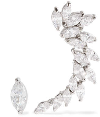 Kenneth Jay Lane Silver Tone Cubic Zirconia Earrings