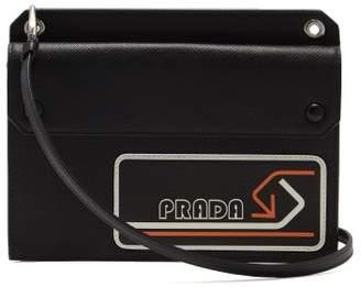 Prada Logo Patch Saffiano Leather Cross Body Bag - Womens - Black Orange