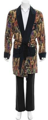 Couture Billionaire Italian Silk Tassel Print Robe