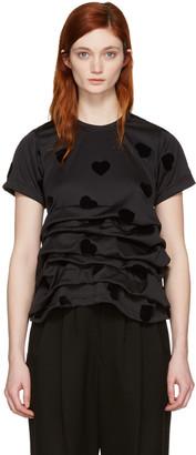 Comme des Garçons Black Velveteen Hearts T-Shirt $725 thestylecure.com
