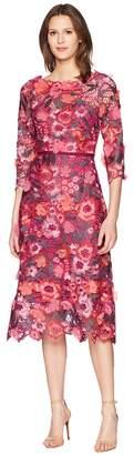 Marchesa 3/4 Length Sleeve 3D Floral Guipure Lace Tea Length Cocktail Dress Women's Dress
