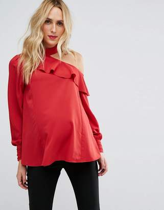 Asos (エイソス) - Asos Maternity ASOS Maternity TALL Tie Neck and Cold Shoulder Blouse