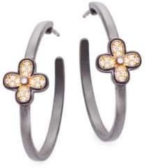 Freida Rothman Clover Sterling Silver Hoop Earrings