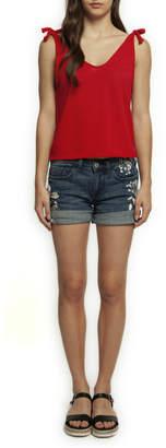 Dex Denim Embroidered Cuffed Shorts