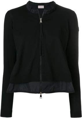 Moncler ruffle-trim fitted jacket