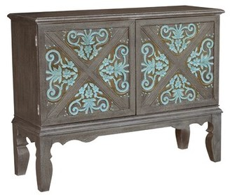 Ophelia & Co. Hartnett Traditional Decorative Boot Uppers Inspired 2 Doors Accent Bar Cabinet & Co.