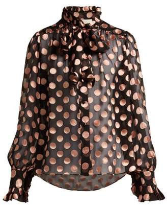 Zimmermann Silk Blend Polka Dot Blouse - Womens - Black Pink