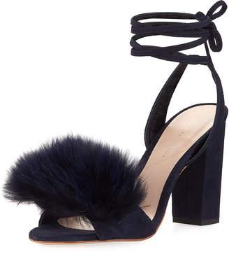 Loeffler Randall Nicolette Faux-Fur Ankle-Wrap Sandal