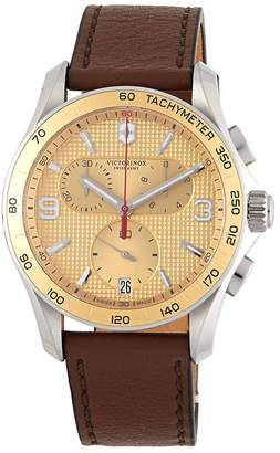 Victorinox Women's Stainless Steel & Leather Strap Chronograph Watch
