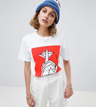 Reclaimed Vintage inspired graphic lips print t-shirt