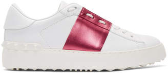 Valentino White and Pink Garavani Metallic Open Sneakers