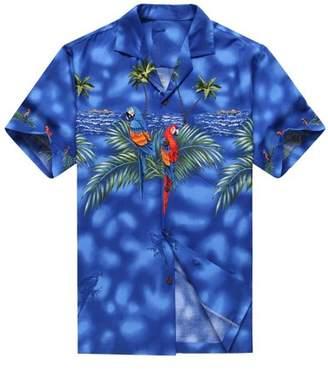 Hawaii Hangover Made in Hawaii Men's Hawaiian Shirt Aloha Shirt Blue with Matching Front Parrots